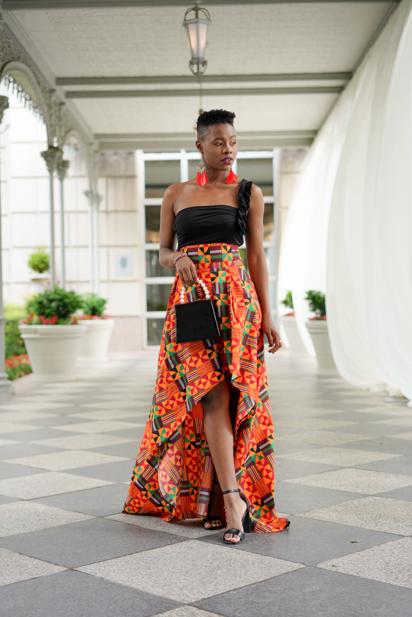 African Print High Low Abeke Skirt