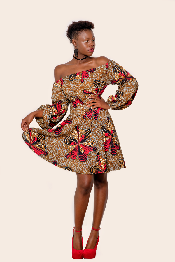 African Print Ayodele Midi Dress