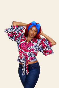 African Print Rushika Ruffled Top