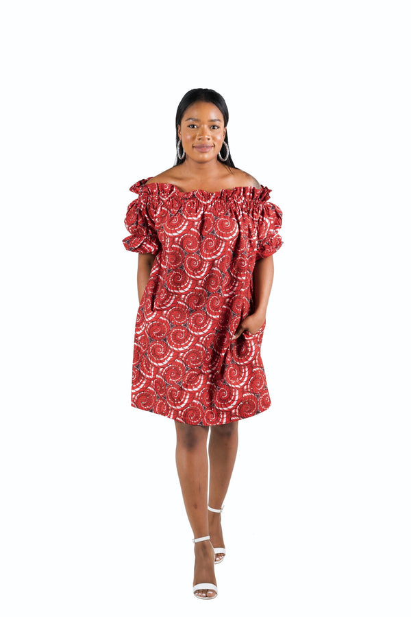 African Print Tayo Midi Dress With Stones - Oludan