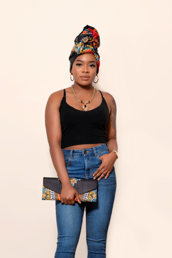 African Tolu Head Wrap & Matching Clutch