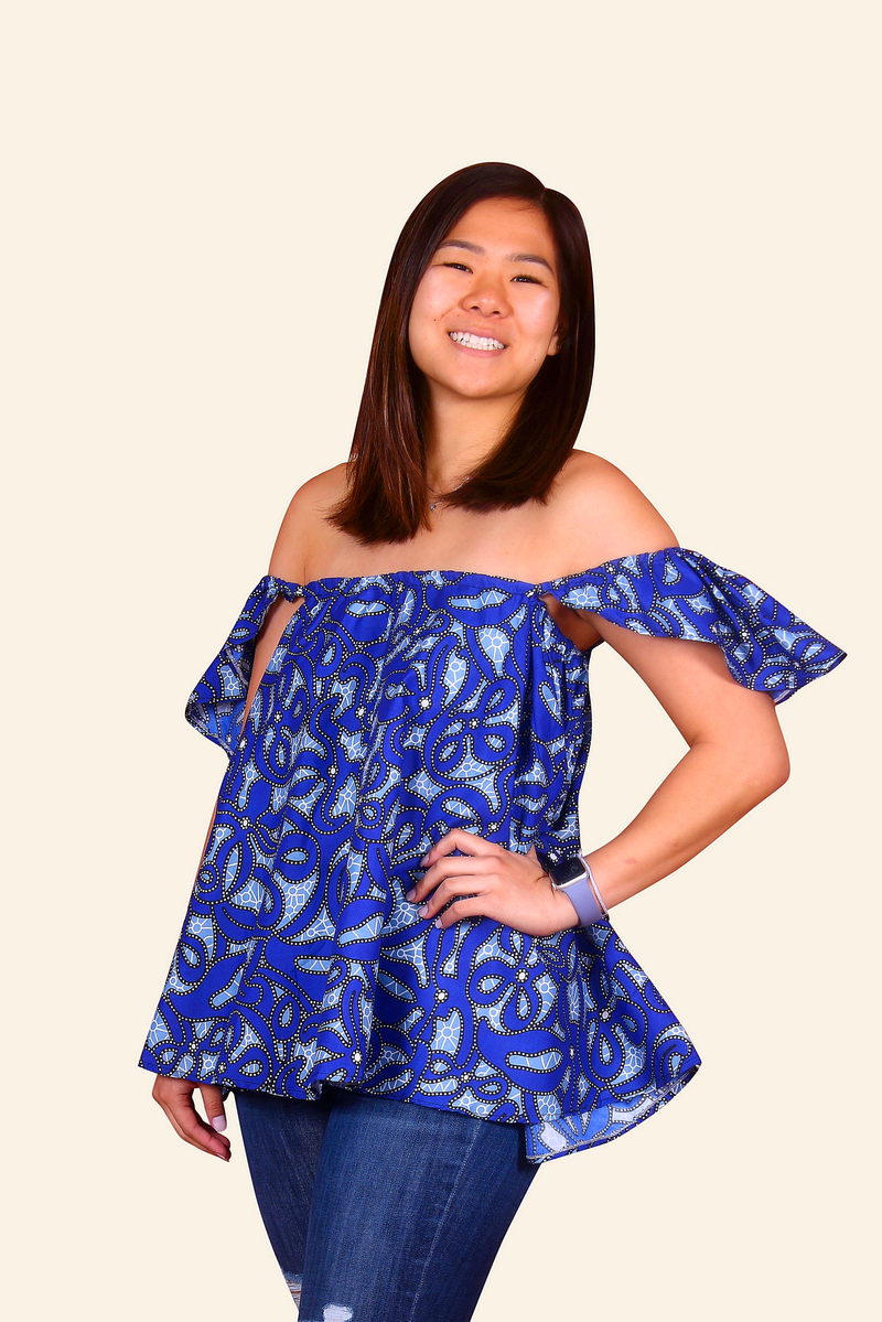 Kemi African Print Strapless Top (Blue)