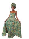 African Print Peacocke Maxi Dress - Oludan