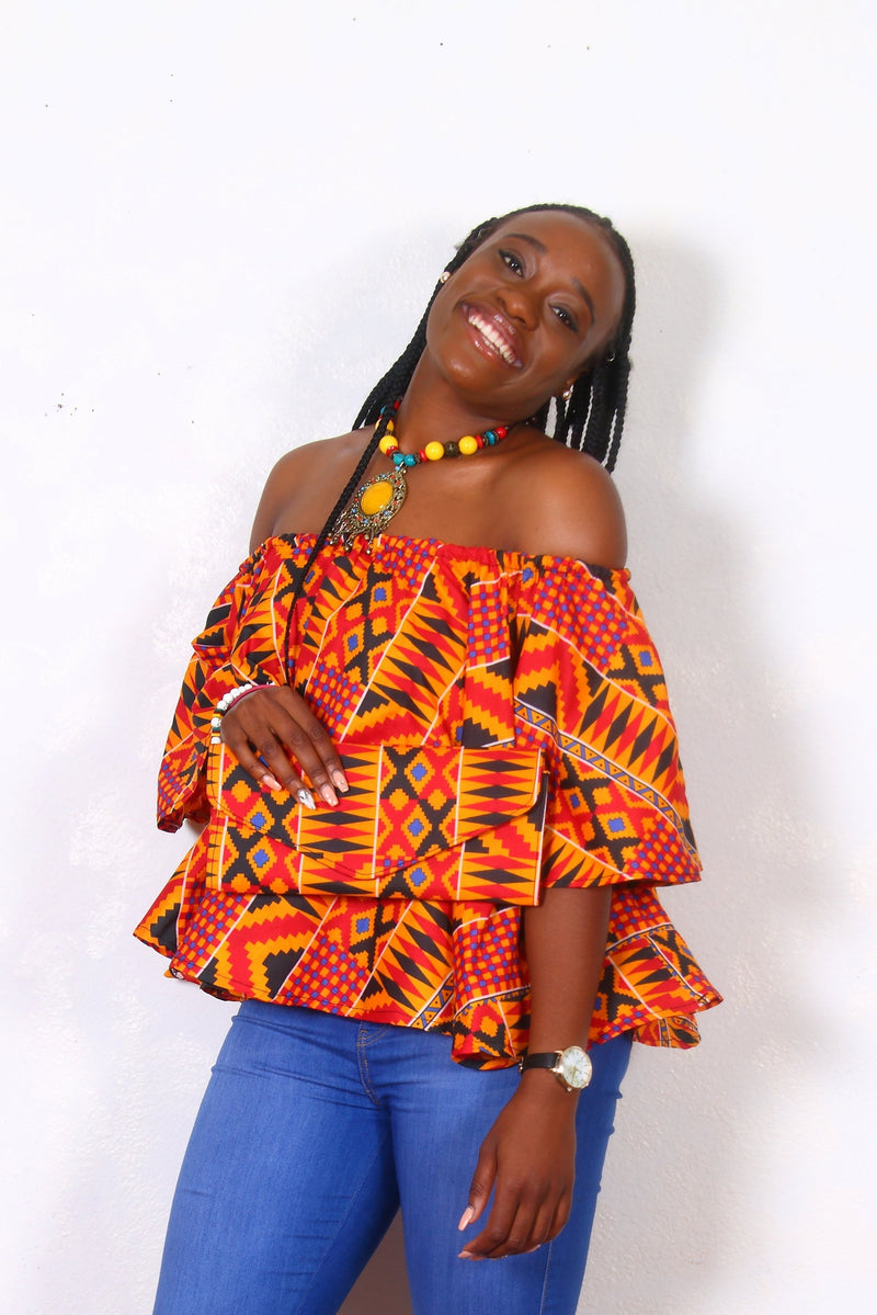 African Print Tina Kente Off The Shoulder Top - Oludan