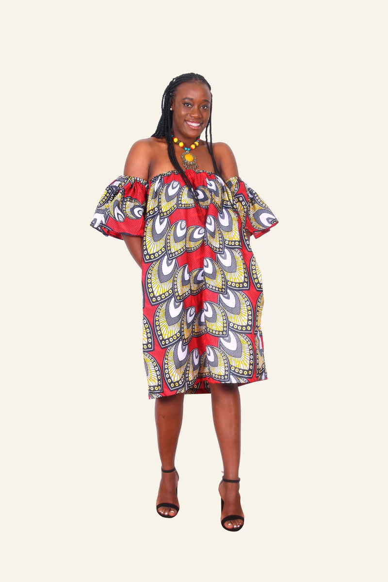 African Print Ego Midi Dress - Oludan