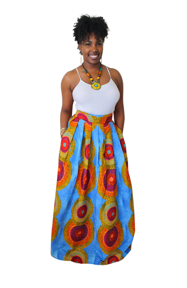 African Print Uzo Maxi Skirt (Multicolored) - Oludan