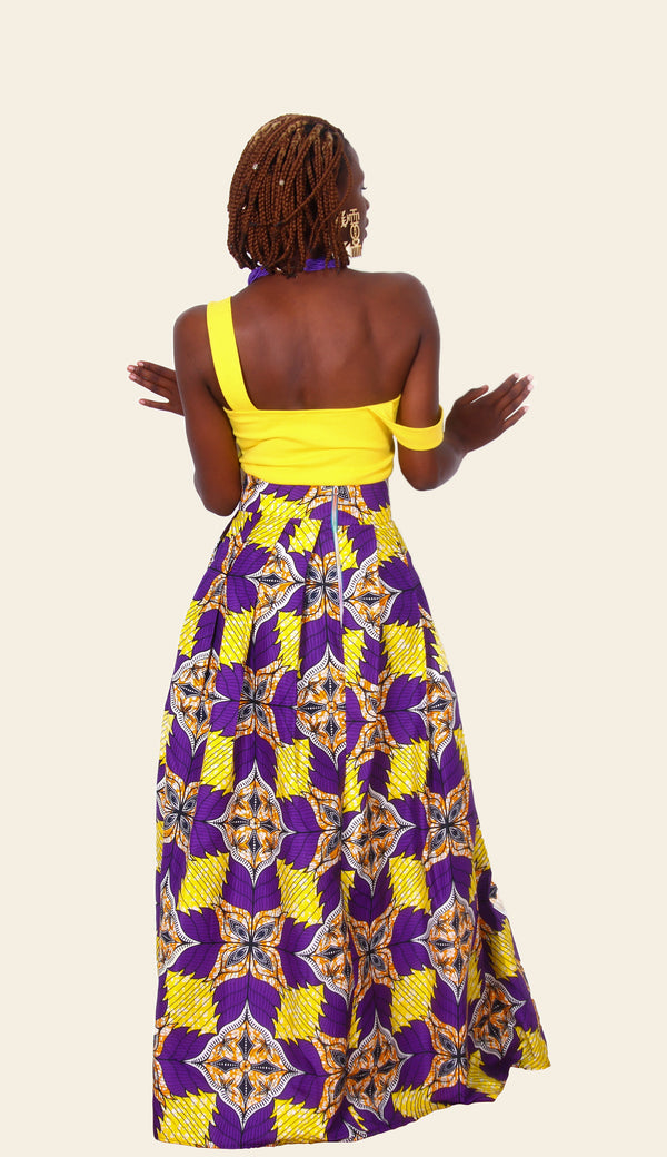 African Print Ariya Maxi Skirt (Purple/Yellow)