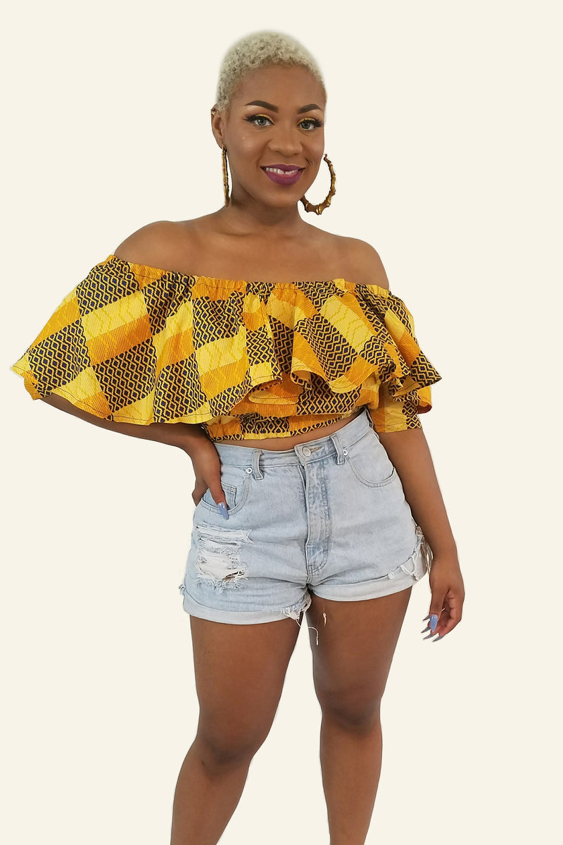 African Print Yeside Cropped Top