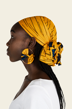 African Print Nkem Headwrap & Matching Earrings
