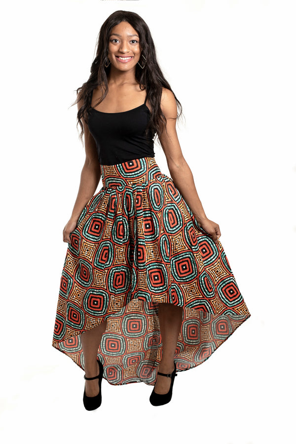 African Print Osamuede High Low Skirt