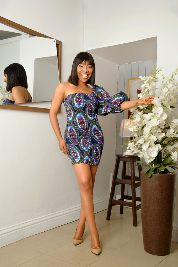 African Print Adaeze Smocked Midi Dress