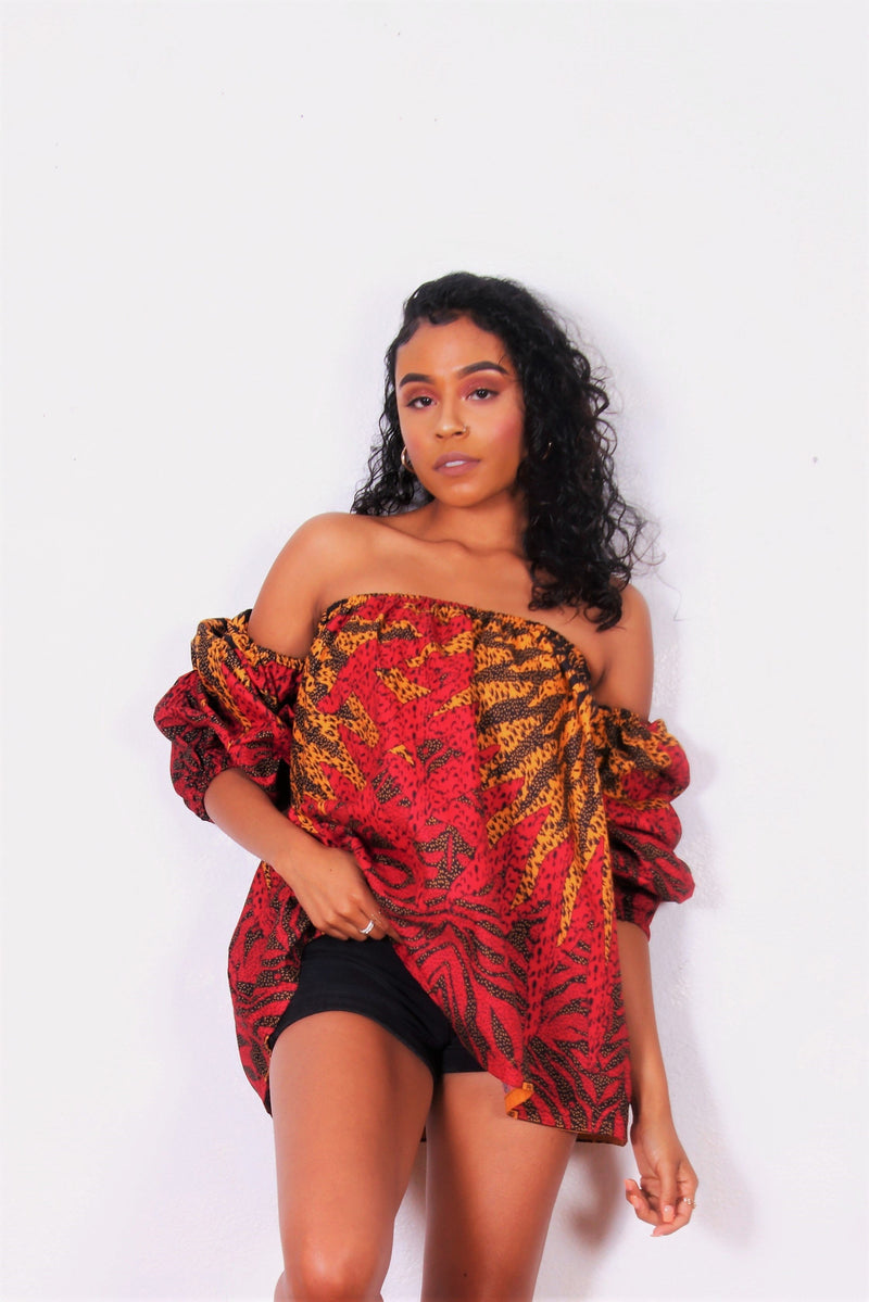 African Print Ari Off The Shoulder Top (Red/Yellow) - Oludan