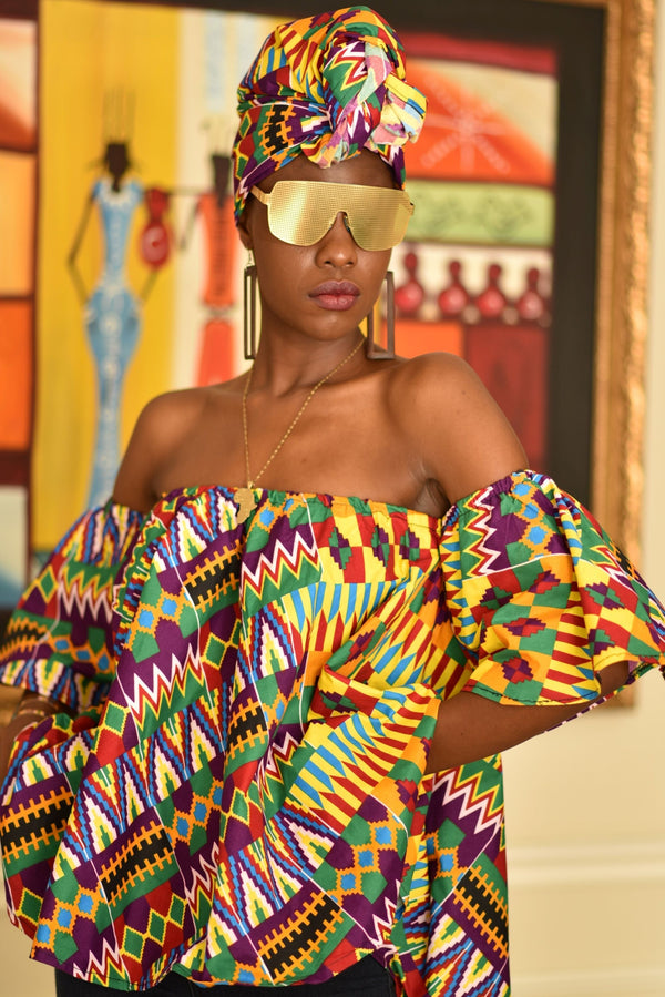 African Print Remi off shoulder top