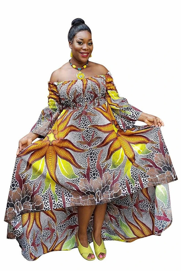 African Print Orinoks High Low Dress - Oludan