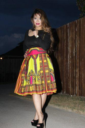 Dashiki Yellow and Red African Print Midi Skirt - Oludan