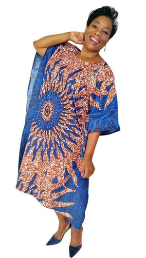 Ibidun African Print Embellished Midi Dress (Blue/Orange) - Oludan