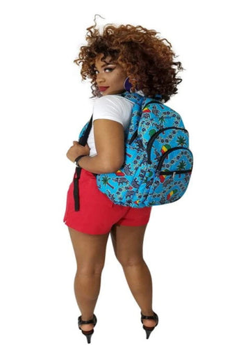 Blue African Print Backpack - Oludan