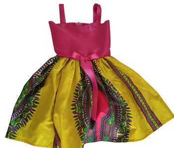 Yellow Dashiki Dress For Girls - Oludan
