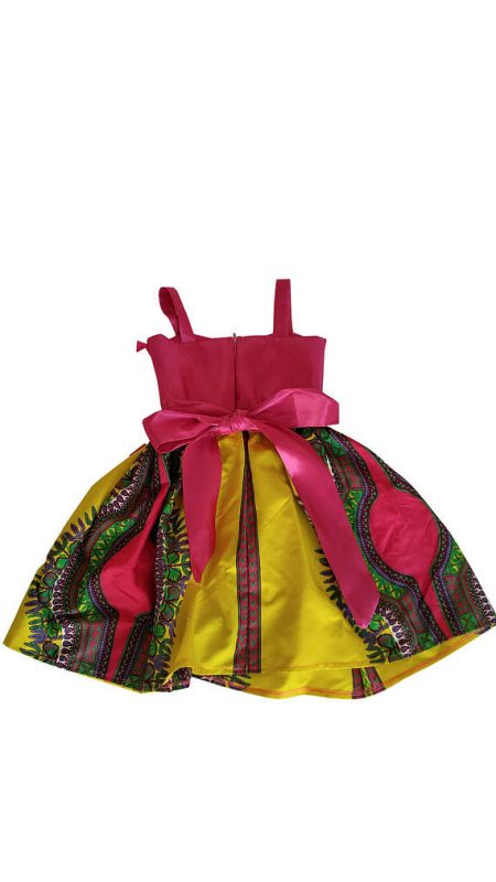 African Print Yellow Dashiki Dress For Girls - Oludan
