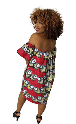 Red African Print Midi Dress - Oludan