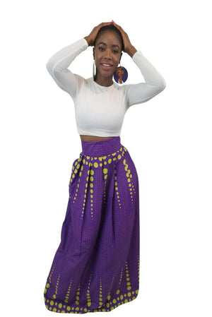 Victory African Print Maxi Skirt (Purple/Lime Green) - Oludan