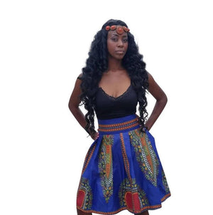 Omai African Print Dashiki Midi Skirt (Blue/Red) - Oludan