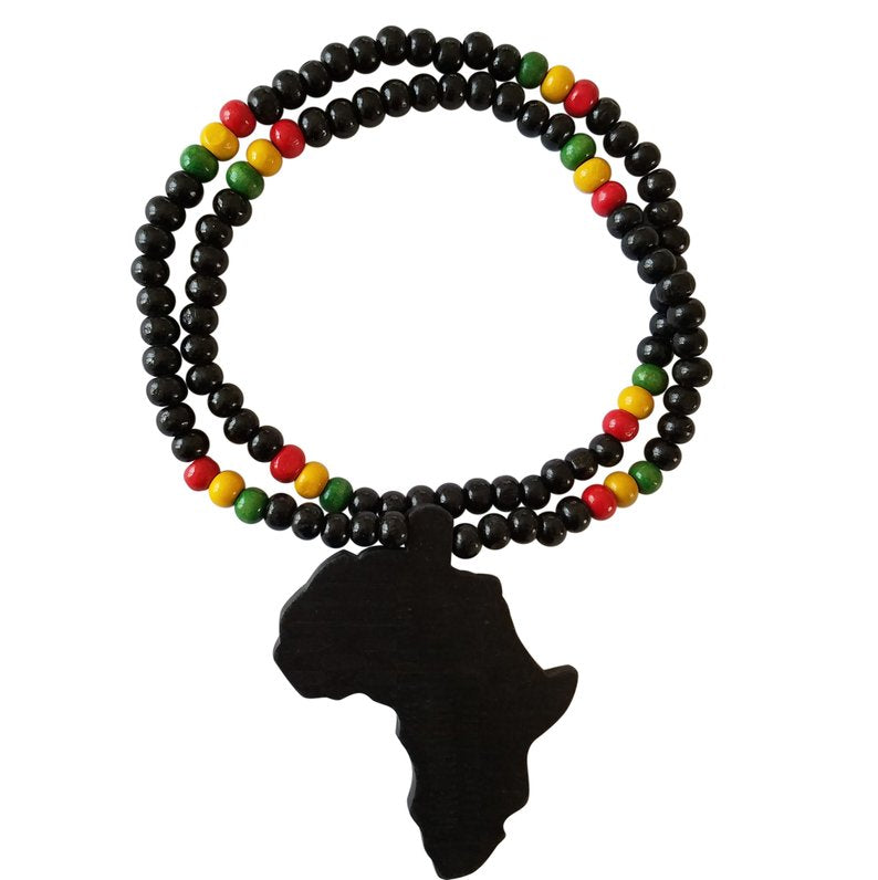 African Collins Map Reggae Necklace (Black) - Oludan