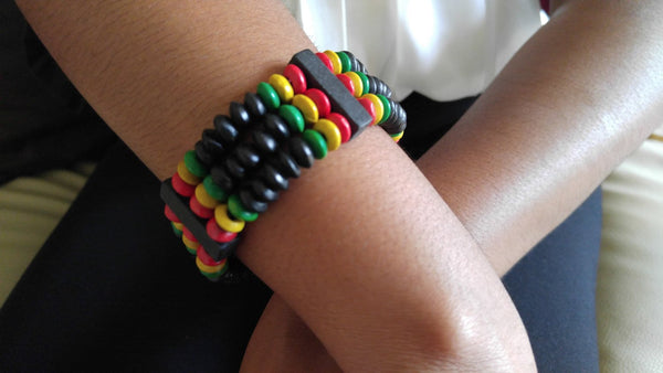Rasta Colored Wooden Beads African Bracelet - Oludan
