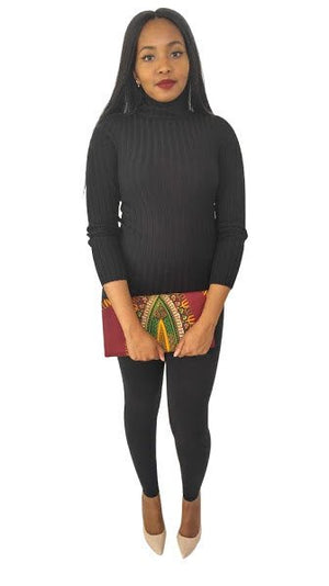 African Fabric Dashiki Wine Clutch - Oludan