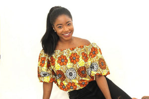 Brown Floral African Print Top - Oludan