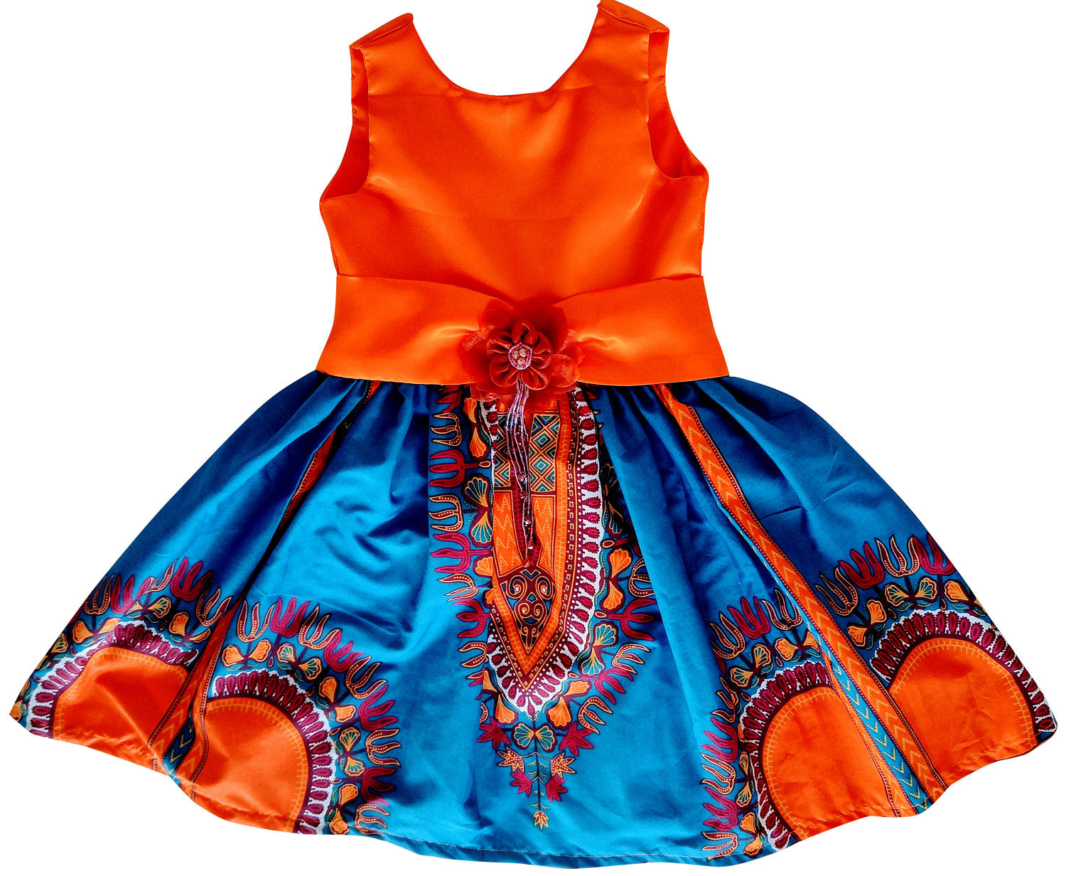 Sere African Print Dashiki Midi Dress For Girls - Oludan