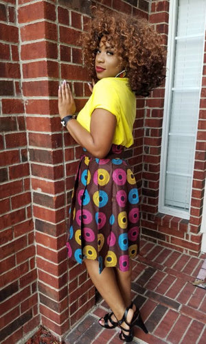 Brown African Print Midi Skirt - Oludan