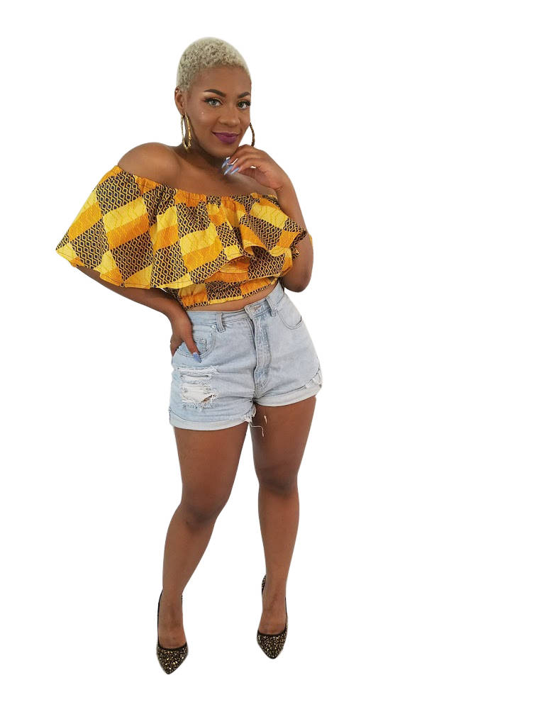 African Print Yeside Cropped Top - Oludan