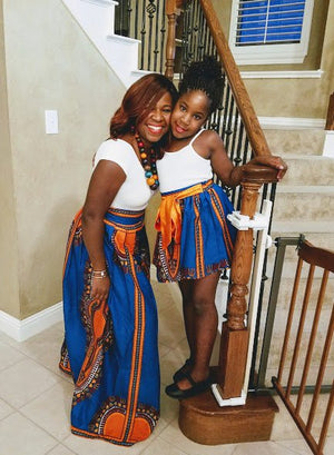 Michelle African Dashiki Mommy And Me Skirts - Oludan