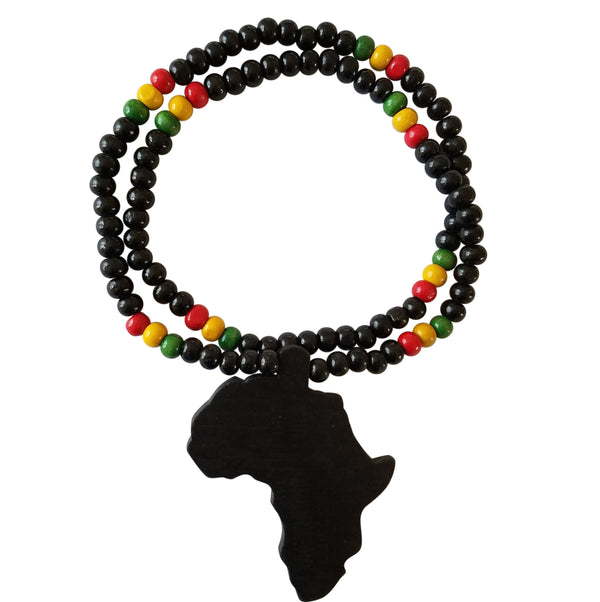 Map Of Africa Necklace With Reggae Colors - Oludan