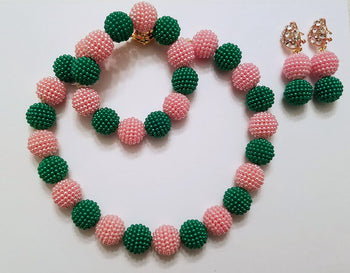 Izin African Beads Necklace Set (Pink/Green) - Oludan