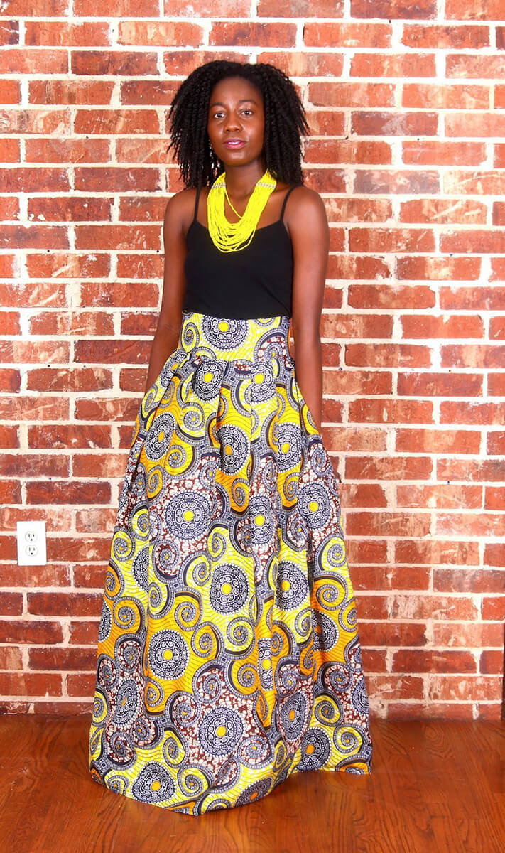 Oyster African Print Maxi Skirt - Oludan