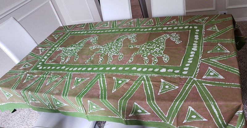 African Print Table Cloth - Green/Brown - Oludan