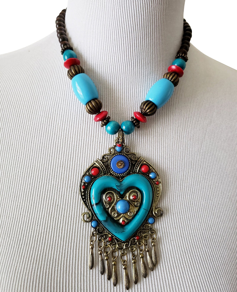 Turquoise Heart African Tribal Wooden Necklace - Oludan