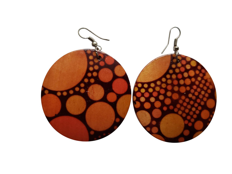 Leona Wooden African Earrings (Brown) - Oludan