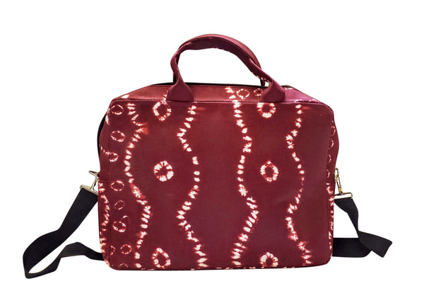 Adire African Laptop Bag (Maroon/White) - Oludan