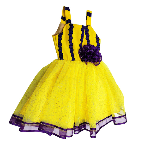 African Print Roli Dress for Girls  (Yellow/Purple) - Oludan
