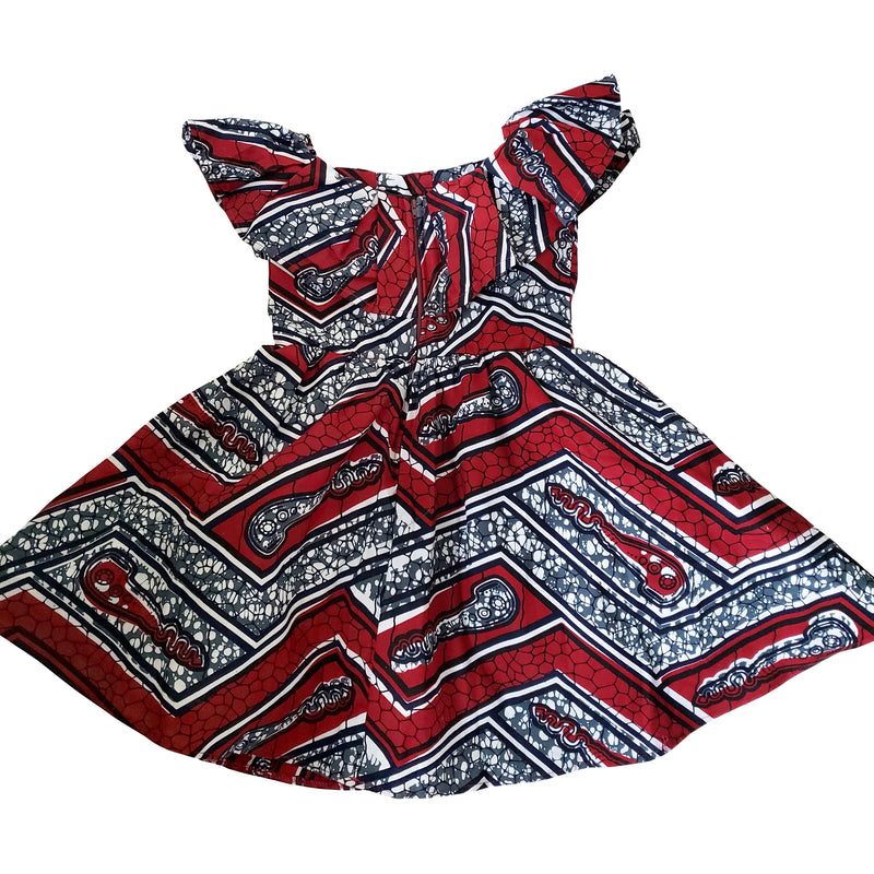 African Print Remi Midi Dress For Girls (Red/White) - Oludan