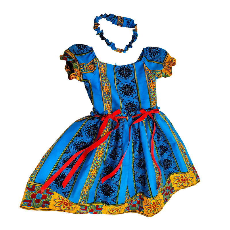 Tiwa African Print Dress For Girls (Blue/Mustard) - Oludan