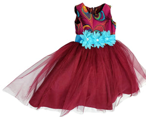 Yeside African Print Tutu Dress For Girls (Maroon/Teal) - Oludan