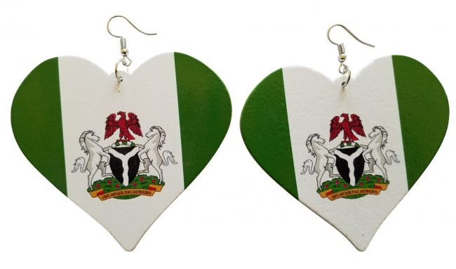 Nigerian Heart Shaped Earrings (Green/White) - Oludan