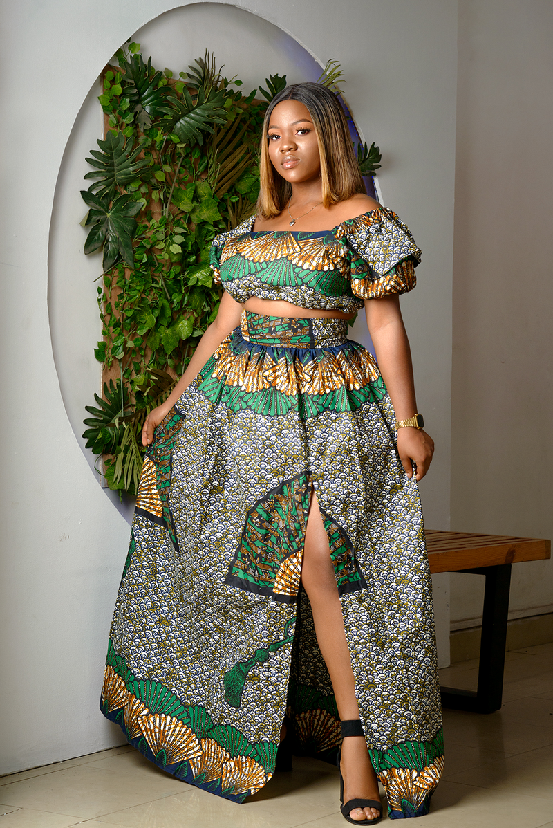 African Print Ebere Cropped Top And Maxi Skirt Set