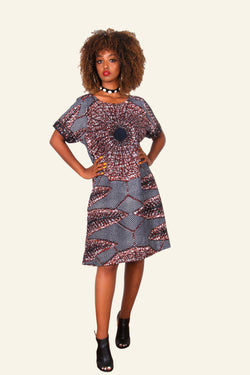 African Print Eniye Midi Dress (Brown/Blue) - Oludan