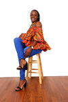 Tina African Print Off The Shoulder Top - Oludan