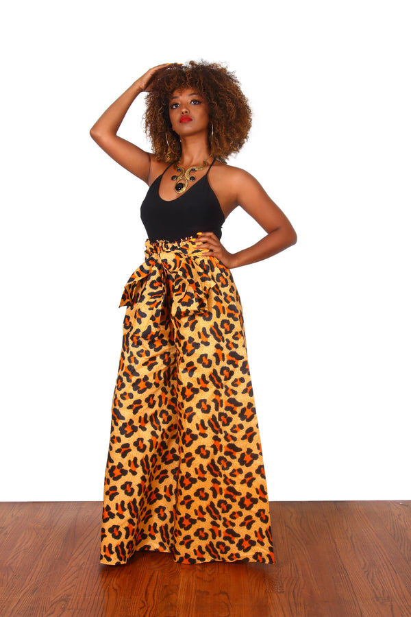 African Print Leopard Palazzo Pants - Oludan